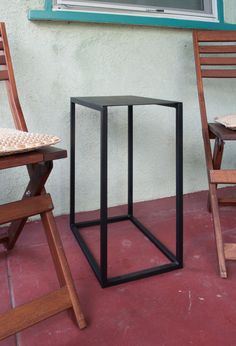 Rectangular Metal Side Table Powder coated flat black by haagmade