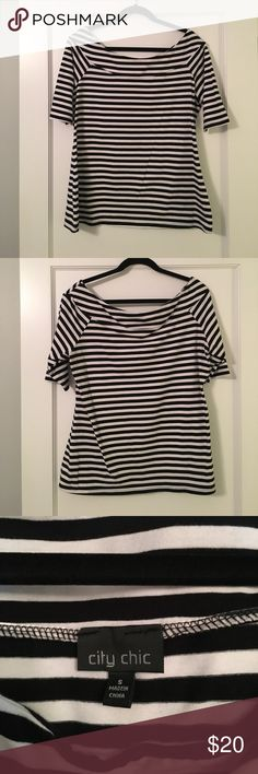 "City Chic black & white striped top Very cute gently used City Chic size ""S"" black & white stripe top. Looks great dressed up and dressed down! City Chic Tops Blouses"