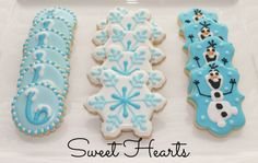 Disney's Frozen cookies, Olaf, snowflake, and frozen six!! www.facebook.com/sweethearts3