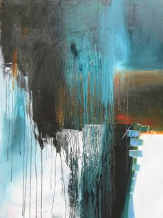 Large blue/brown abstract painting by Jane Robinson