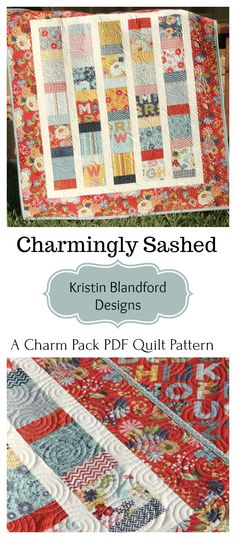 Charm Pack Quilt Pattern in PDF File Fabrics, DIY Quilting Ideas, Pre-cut Quilt Pattern, Baby and Throw, Quick Simple Easy, Sewing Ideas, Instructions, Charm Pack Pattern by Kristin Blandford Designs #charmpackpattern #quilting #sewing #pdfquiltpatterns