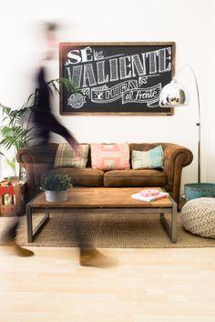 Take the tour of our studio #studio #chalckboard #sofa #lamp #wood