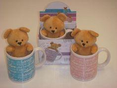 Detalle infantil taza ceramica con peluche osito para regalo infantil #Grandetalles