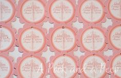 Personalized Pink Cross Baptism Christening Decorations Favor Tags or Sticker