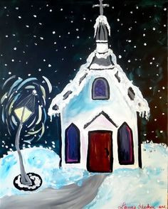 """We're painting this delightful """"Snowy Night"""" at Water 2 Wine Bistro January 24th 6pm. Save your seat here: http://ift.tt/2fPcZWu #knoxpaints #knoxrocks #knoxville"""