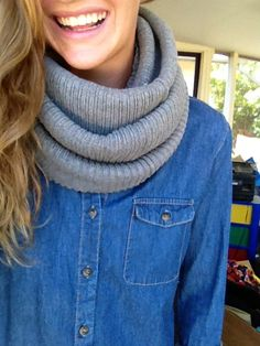 DIY scarf all you have to do is find an over size sweater, cut a straight line right before the sleeves. You should have a huge rectangle now! With that now just wrap it around and make it the style you want. Just like a normal infinity scarf :) easy no sew! Enjoy