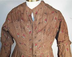 Stitches Through Time: 1840's Brown Calico Dress
