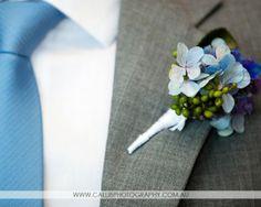 Blue Hydrangea buttonhole.