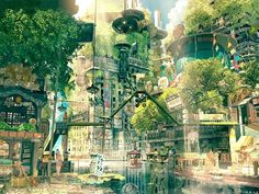 Concept Art for Teikoku Shounen (Imperial Boy) - Anime Art - City Background Scenery Wallpaper, Landscape Wallpaper, Hd Wallpaper, Future City, City Art, Graffiti En Mousse, Anime City, Forest City, Forest Park