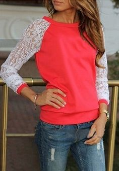 Red Patchwork Lace Sweet Pullover Sweatshirt