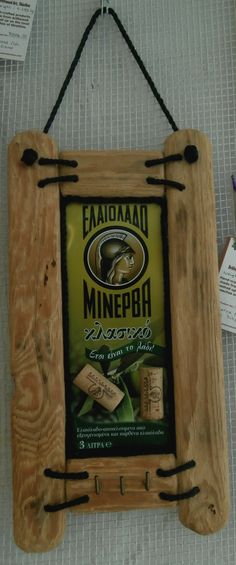 Driftwood Notice Board featuring section from Minerva Olive Oil drum