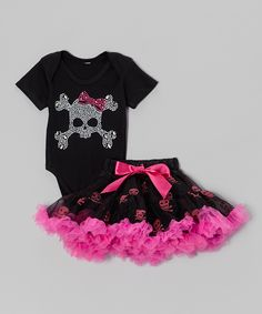 Take a look at this Black Skull Bodysuit & Pettiskirt - Infant on zulily today! Infant thru 24months available.