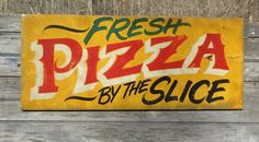 hand painted Pizza Pie sign by ZekesAntiqueSigns Pizza Sign, Open Signs, Business Signs, Pie, Hand Painted, Lettering, Painting, Torte, Cake