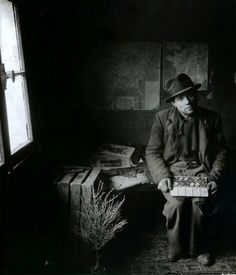 """#1 of 4 Photo of Maurice Duval, the painter rag, rue Visconti 5, 1948. In exhibition """"Robert Doisneau. Paris en liberté """"  Doisneau Maurice Duval, the painter rag. This photograph inspired Safet Zec to produce the drawing/paintings shown in the video also on this board. #3 & 4 of 4.  Cont on #2 of 4."""