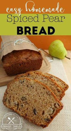 Easy Homemade Spiced Pear Bread Looking for a delicious fall bread recipe to enjoy? Look no further! Our family's easy homemade spiced bear bread will do the trick! Fruit Recipes, Fall Recipes, Baking Recipes, Fresh Pear Recipes, Pear Recipes Healthy, Healthy Breads, Recipies, Apple Recipes, Recipes