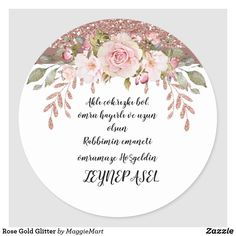 Rose Gold Glitter Classic Round Sticker