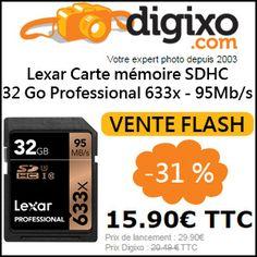 #missbonreduction; Vente flash: remise de 31% sur Lxar eCarte mémoire SDHC 32 Go Professional 633x - 95Mb/s chez Digixo. http://www.miss-bon-reduction.fr//details-bon-reduction-Digixo-i100-c1829635.html