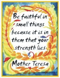 Mother TERESA Be FAITHFUL Inspirational Print 8x11 by Heartfulart, $12.00