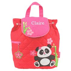 Children's Personalisable Panda Quilted Bag - Available now on Becky & Lolo
