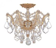 Crystorama 4430-GD-CL-MWP 3-Lights Maria Theresa Semi Flush Mount Draped In Clear Hand Cut Crystal - Polished Gold