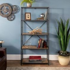 """Walker Edison Furniture Company 64 """"Industrial Wood Bookcase - Barnwood - The Home Depot Rustic Industrial Open Bookcase – Barnwood"""