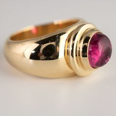 Finished 14k yellow gold ring from original wax carving with Rubellite Tourmaline - not on my website, available for custom order.