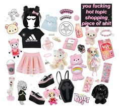 """""""me/things i own"""" by demonbabydoll ❤ liked on Polyvore featuring H&M, Hot Topic, Demonia, Hello Kitty, Paul Frank and Jellycat"""