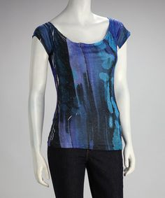 Take a look at this Blue Paint Daubs Short-Sleeve Top by Love Couture on #zulily today!