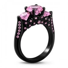 Cool Black Gold Plated Three Pink Sapphire Engagement / Wedding Ring - USD $59.95