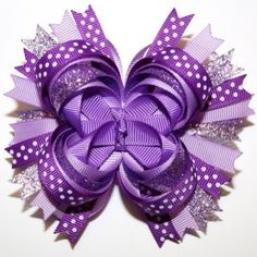 Purple Lavender Glitter Polka Dots Stacked Boutique Hair Bow by Ada123