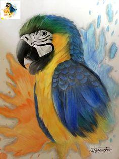 Parrot, Bird, Painting, Animals, Parrot Bird, Birds, Painting Art, Paintings, Painted Canvas