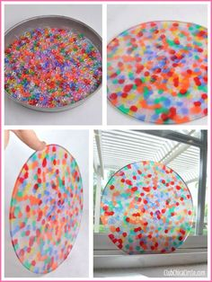I know I've pinned this before, but this one shows great pictures and also how to do it on the grill.   BBQ bead suncatcher in cake tin DIY