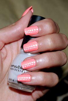 Peach Polka Dot Nails ♥   Summer Nail Polish is awesome :)