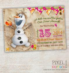 Frozen SUMMER Birthday Invitation Frozen by PixelPerfectShoppe, $20.00