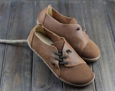 Handmade Women Shoes,Brown Oxford Shoes, Flat Shoes, Retro Leather Shoes, Casual Shoes, Slip Ons, Loafers