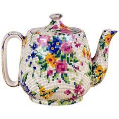 Needlepoint Patterns, Sewing Box, Porcelain Ceramics, Queen Anne, Vintage Tea, Earthenware, Pattern Making, Art Deco, Teapots