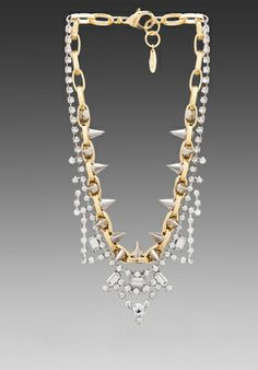 JOOMI LIM Crystal  Spike Necklace in Gold/Silver Spikes/Crystal