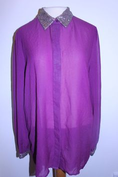 APT 9 Blouse XL Sheer Plum  Sequinned Collar Cuffs Dressy Top #Apt9 #Blouse #EveningOccasion