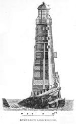 The second Eddystone Lighthouse was designed by John Rudyard, It was built of wood around a core of brick and concrete. The first light shone 1709 and survived nearly 50 years. In 1755 the lantern top caught fire and despite the efforts of the three keepers, the lighthouse burnt down. One keeper, Henry Hall aged 94 at the time, later died of lead poisoning from ingesting molten lead from the lantern roof during the fire. [To be 94 in 1755 and still working the lighthouse would be amazing.]