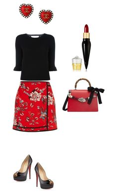 """""""Black & Red"""" by mmarky on Polyvore featuring moda, River Island, Gucci, Christian Louboutin, RED Valentino e Chanel"""
