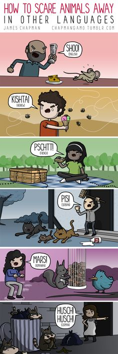 How to scare animals away in other languages.