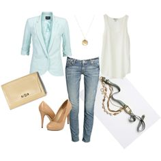 """mint blazer"" rose gold watch and necklace, rust sandals"