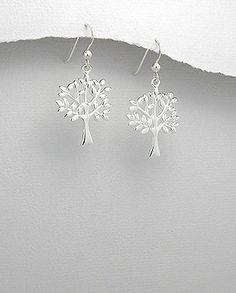 Open Design Tree Of Life Drop Earrings Hallmark 925 40mm X 19mm