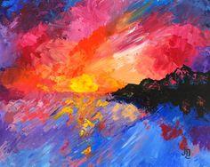"""Early Light"" by J. Travis Duncan  Colorful ocean sunrise palette knife painting by J. Travis Duncan. #jtravisduncan #panoplei"