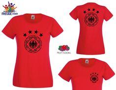 Weltmeister Lady T-Shirt 4 Sterne! WM 2014 Brasil - Rundhals+V-Neck, Flexdruck