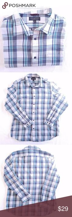 Banana Republic flannel plaid button down shirt L Banana Republic lightweight flannel plaid button down shirt in a size large.  Blue and teal plaid pattern on a white background.  Pocket on left chest.  Double button cuffs.    100% cotton.    Chest is 24 in, shoulder to hem is 30 in, sleeve length is 25.5 in. Banana Republic Shirts Casual Button Down Shirts