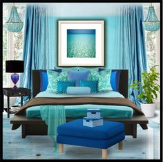 Follow me on IG: spellmynamewrite   Egyptian Blue..Aqua..Turquoise & Brown Bedroom