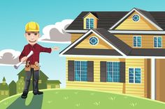 Buy Home Builder by artisticco on GraphicRiver. A vector illustration of a home builder posing in front of a house. Vector illustration, zip archive contain eps 10 a. Craftsman Garage Door, Garage Door Parts, Garage Door Lock, Garage Door Springs, Glass Garage Door, Wood Garage Doors, Garage Door Repair, Garage Door Spring Replacement, Garage Door Insulation Kit