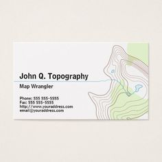 Geologist, Cartographer Topographic Map Personal Business Card