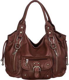 "Purse Boutique: Brown Laurel&Sunset ""Trisha"" Utilitarian Hobo Slouchy Shoulder Bag, Purses"